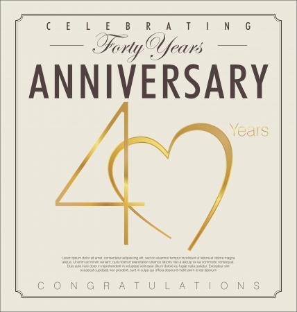 mariage: 40 années anniversaire rétro fond