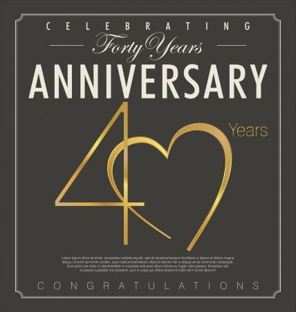 anniversaire mariage: 40 ann�es anniversaire r�tro fond