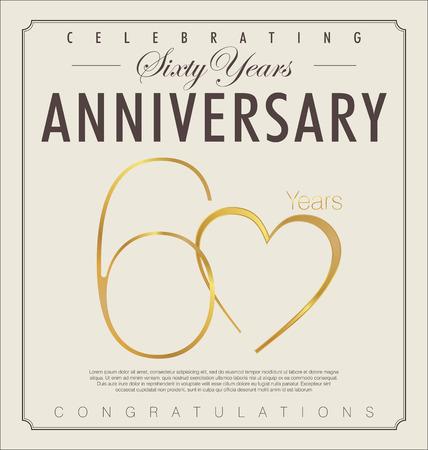 aniversario de bodas: 60 años aniversario retro Vectores