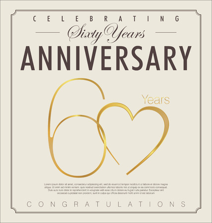 anniversario matrimonio: 60 anni anniversario sfondo retrò
