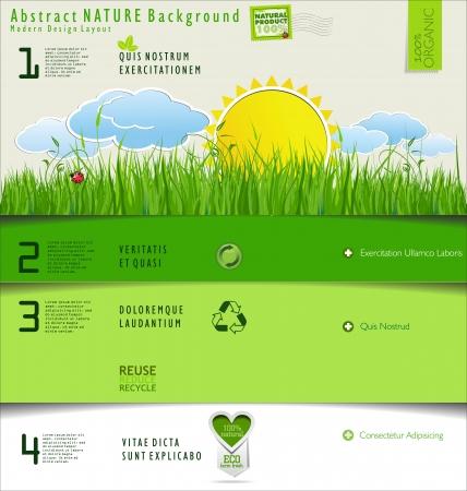 desarrollo sustentable: Naturaleza Moderno diseño de diseño Vectores