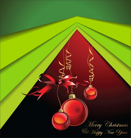 congratulations word: Merry Christmas green tree background
