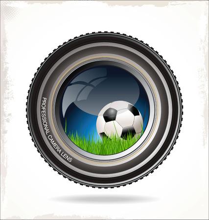 camera lens: Soccer background Illustration