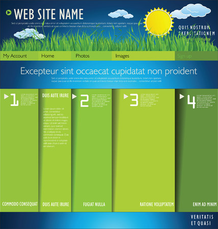 Modern nature web site design layout Vector