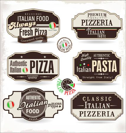 ピザ レトロなラベル