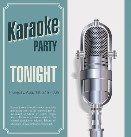 live on air: Karaoke party background  Illustration