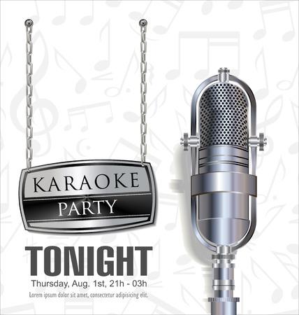 retro microphone: Karaoke background
