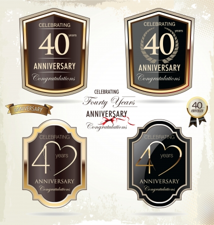 th: 40 years anniversary golden label  Illustration