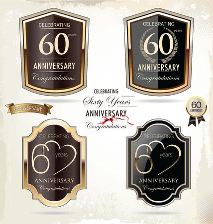 60: 60 anos r�tulo dourado do anivers�rio Ilustra��o