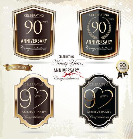90 years: 90 anni anniversario di etichette d'oro