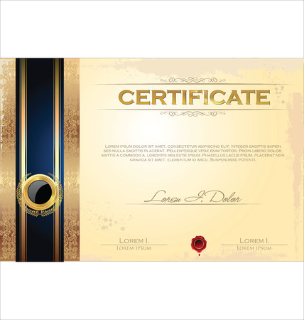 certificate template: Certificate or diploma template, vector illustration Illustration
