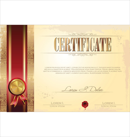 zeehonden: Certificaat of diploma sjabloon, vector illustratie