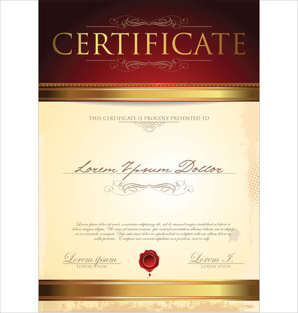 money border: Certificate or diploma template, vector illustration Illustration