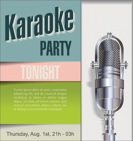 music poster: Karaoke party background  Illustration