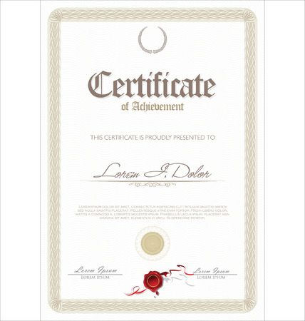 Illustration de certificat d�taill� or