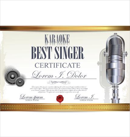the singer: Karaoke certificate template, best singer