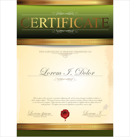 Illustration of gold detailed certificate Vector