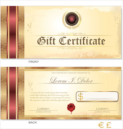 certificate bow: Voucher, Gift certificate, Coupon template Illustration