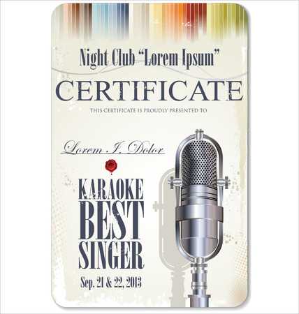 karaoke: First award certificate karaoke template Illustration