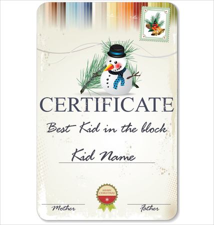 Certificate - the best kid in the block Vector