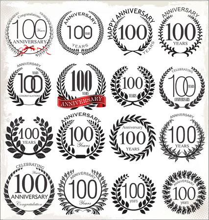 100 years anniversary laurel wreath, set  Vector