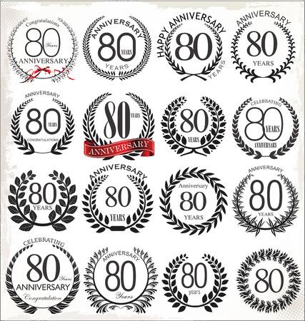 80 years: 80 years anniversary laurel wreath, set