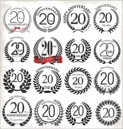 20 years anniversary laurel wreath, set