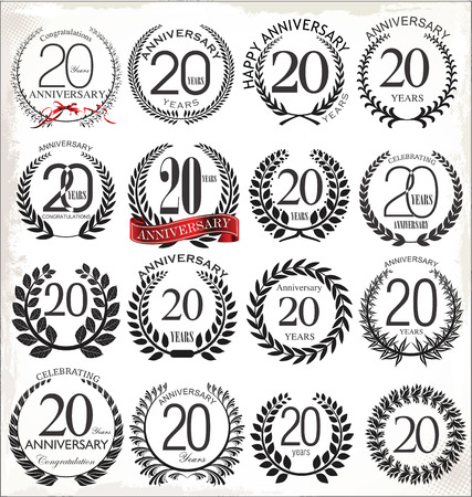 20: 20 years anniversary laurel wreath, set