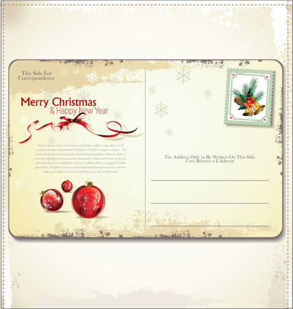 love letters: Vintage Christmas Postcard  Illustration