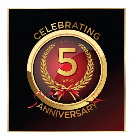 5th: 5 years Anniversary label  Illustration