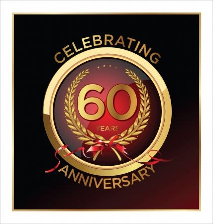 60: 60 anos r�tulo Anivers�rio Ilustra��o