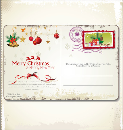 Vintage Christmas Postcard  Vector