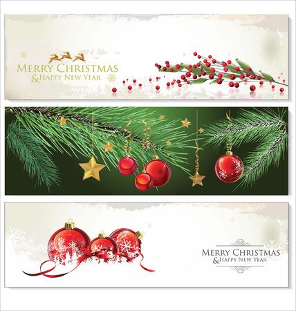 christmas design: Merry Christmas banners set ontwerp