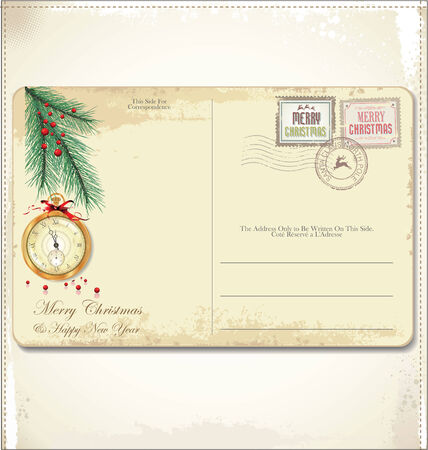 Vintage Christmas Postcard and Stamps  Vector