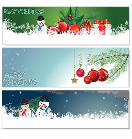 snowman christmas: Merry Christmas banners set design