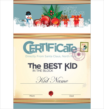 Certificate - best kid in the block Vector
