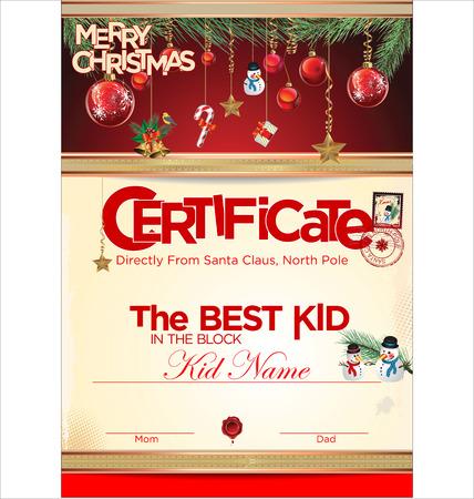 Certificate template, the best kid  Vector