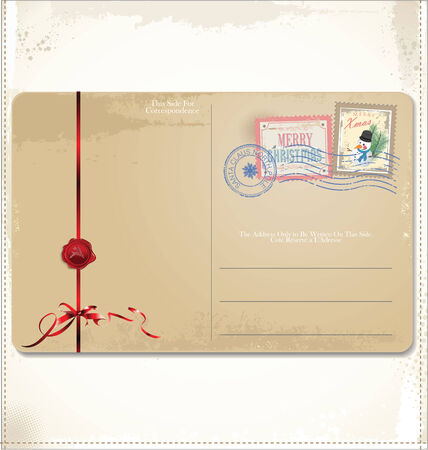 Vintage Christmas post card Vector