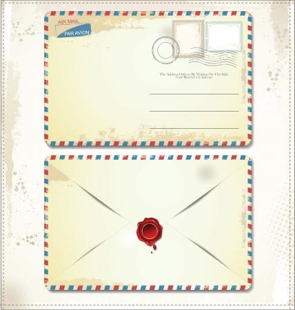 enveloppe ancienne: Enveloppe affranchie avec des timbres et vieux sceau de cire