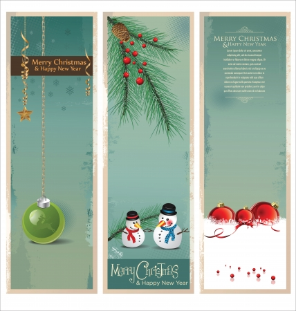 Merry Christmas retro banner, set Vector