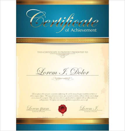 diploma template: Blue certificate template