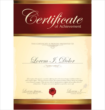 diploma border: Red certificate template