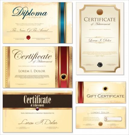 Certificate template, set Illustration