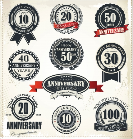 Anniversary sign collection, retro design Vector