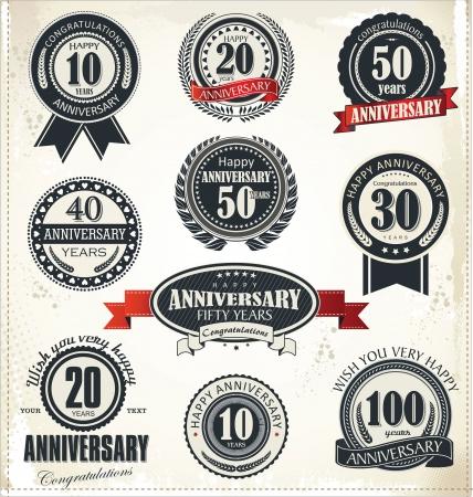 Verjaardag teken collectie, retro design