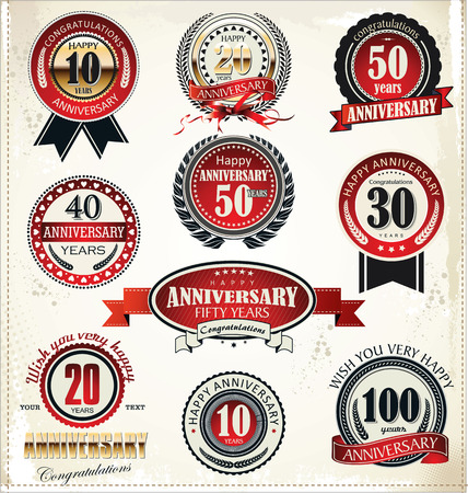 number 50: Anniversary sign collection, retro design