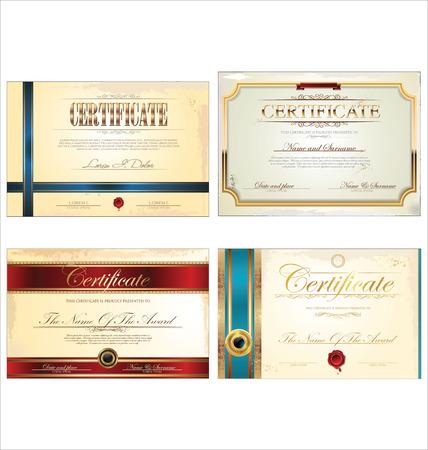 formal blue: Certificate template set Illustration