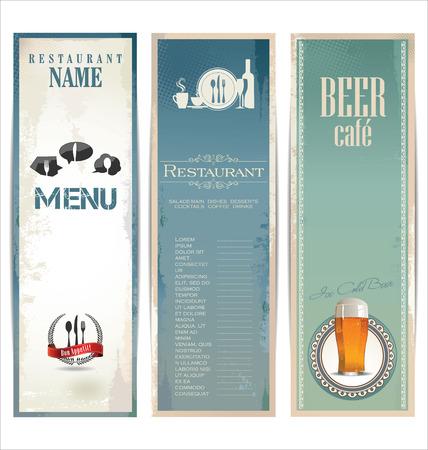 beer card: Restaurant menu design with vintage label