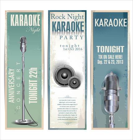locandina arte: Karaoke party background Vettoriali