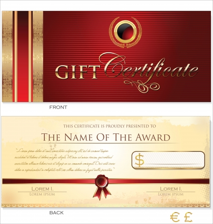 fluted: Red and gold Gift certificate